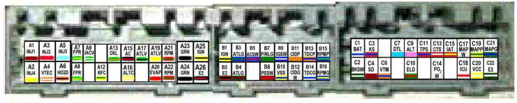 obd1 d14 pinout what is the color ofthe wire? honda tech honda p28 ecu wiring diagram at soozxer.org